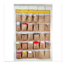 New multi purpose 30 pockets fabric hanging shoe organizer hanging non woven storage organizer