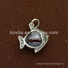 Girls cute fish shape ruby 925 sterling silver pendant