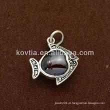Meninas bonito forma de peixe rubi 925 pingente de prata esterlina