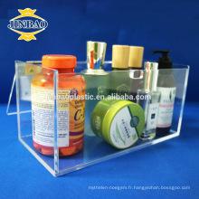 Jinbao personnaliser acrylique matériau plastique maquillage vitrine présentoirs