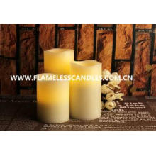 Flameless LED Candles / Large White Pillar Candles With Mov