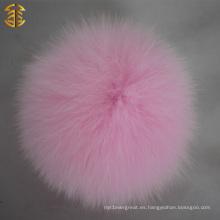 Bolso accesorio popular Bolso de la piel del uso de la ropa del sombrero Bolso real de la piel del Fox Poms