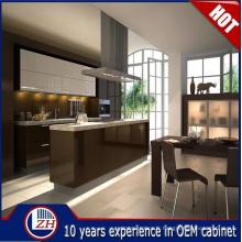 Design d'armoires de cuisine en MDF brillant et imperméable à l'eau avec accessoires de panier