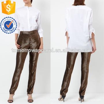 Popeline de algodão branco camisa gola redonda manufatura atacado moda feminina vestuário (TA4002T)