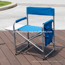 folding aluminium director chair with side table