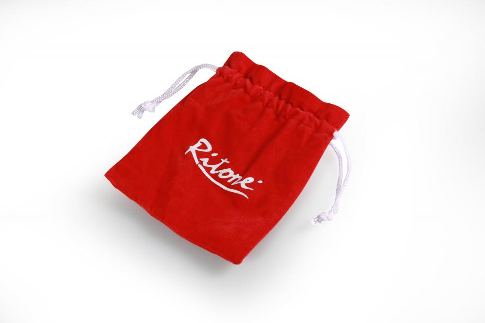 velvet gift pouch with white logo