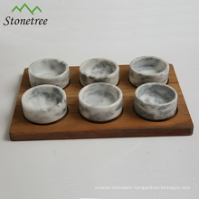 Natural marble stone kitchenware accessories with wooden bases