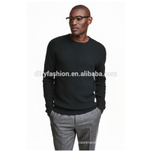 Fashion mens jacquard sweater solid pullover sweater black sweatshirt