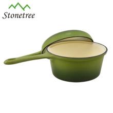 Green enamel Cast Iron long handle saucepan