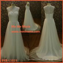 2015 последние дизайн высокое качество французский шнурок Appliquend свадебные платья БЫБ-L1019