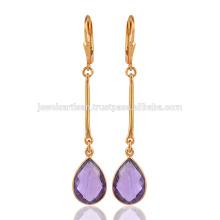 Pendientes de plata de plata de ley de piedras preciosas en amatista púrpura