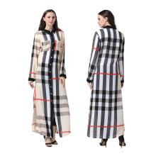 Premium polyester Robe Femme Moyen modèles Plaid robe musulman décontracté abaya