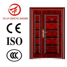 Puerta doble de acero de color de madera