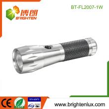 Fabrik Notfall verwendet 3 * AAA batteriebetriebene Aluminium 1watt Cree leistungsstarke und billige LED-Taschenlampe mit Anti-Rutsch-Gummi-Griff