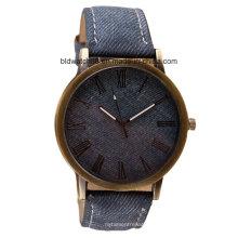 Reloj de cuarzo resistente al agua OEM con banda de cuero de la cara de madera