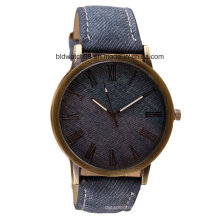 OEM Waterproof Vogue Quartz Watch with Wood Face Leather Band
