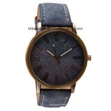 OEM Водонепроницаемый кварца моды часы с деревянным лицом Кожаный ремешок