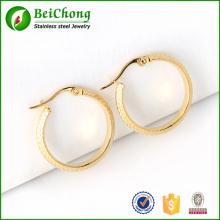Nouveau mode bijoux Boucles d'oreilles 18K motif or acier inoxydable Creoles pour femmes