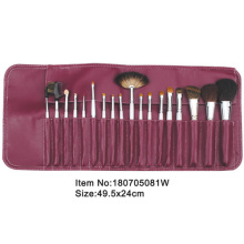18pcs white plastic handle animal/nylon hair makeup brush tool set with Burgundy PU leather case