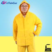 Añadir tira reflectante PVC poliéster traje para lluvia color amarillo 2 piezas
