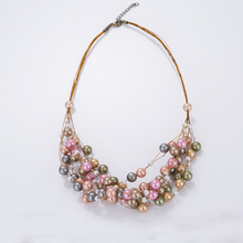 Chunky Colourful Pearl Necklace Tanie