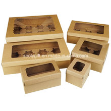 Take out Paper Cupcake Box/ Kraft Cardboard Paper Cupcake Box with Insert and Clear Window