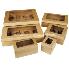 Выньте коробку для кексов с бумагой / крафт-картонные коробки для кексов с вставкой и прозрачным окном