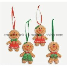 Presente pendurado de decoração de pão de gengibre, Ornamento pendurado de Polyresin de Natal