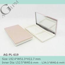 Charmoso e elegante retangular compacto pó caso com espelho AG-PL-619, embalagens de cosméticos do AGPM, cores/logotipo personalizado
