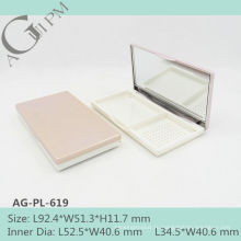 Очаровательные & элегантные прямоугольные компактный порошок дело с зеркало AG-PL-619, AGPM косметической упаковки, пользовательские цвета логотипа