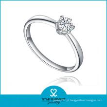 2016 anel de jóias por atacado de prata com pedra de zircão AAA (R-0408)
