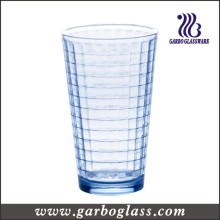 12oz V Shaped Blue Glass Water Cup