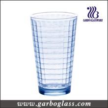 12 oz en forma de V Copa de agua de vidrio azul