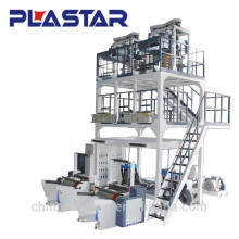 double traction system ABA 3 layers co-extrution PE film blowing machine