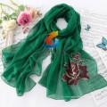 LINGSHANG elegante com rugas macias long lenço liso de poliéster