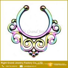 Titanium Rainbow Gold Plated Tribal Fake Septum Nose Ring