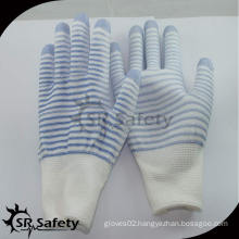 SRSAFETY 13G polyester U3 liner coated PU on finger smartphone gloves