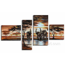 Modern African Landscape Oil Painting Elephant Canvas Art (AR-029)