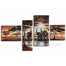 Arte moderna da lona do elefante da pintura a óleo da paisagem (AR-029)