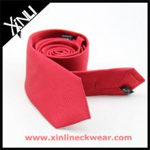 Cravate de mariage de cravate de soie en gros tissé noir rouge de Jacquard hommes