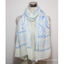 Woman Fashion Paisley Printed Cotton Polyester Voile Scarf (YKY1087)