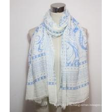 Женщины мода Пейсли печати хлопок полиэстер вуаль шарф (YKY1087)
