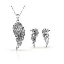 Angel Wing Charm Pendant Necklace and Earrings Jewelry Set with Top Grade Crystal