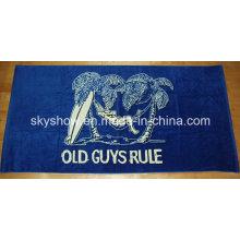Пляжное полотенце с одной стороны с принтом велюра (SST0349)
