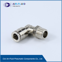 Air-Fluid Brass Nickel-Plated 90 Degree Swivel Male Elbow.