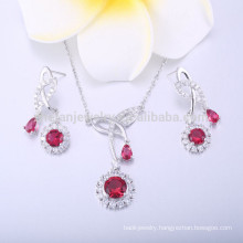 rose/ruby manufacturer rhodium plating jewelry set in bull