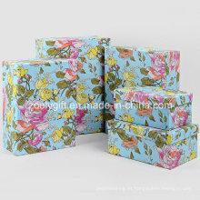 Venta al por mayor personalizada de papel de impresión de flores de embalaje de regalo cajas