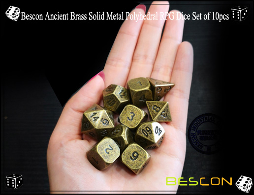Bescon Ancient Brass Solid Metal Polyhedral RPG Dice Set of 10pcs-4