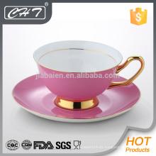 Pink taza de café de China de hueso y platillo conjunto con conjunto de belleza de calcomanía
