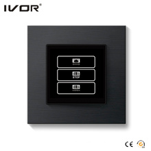 1 Gang Curtain Switch Aluminum Alloy Outline Frame Black Color (HR1000-AL-CT(AC1)-B)